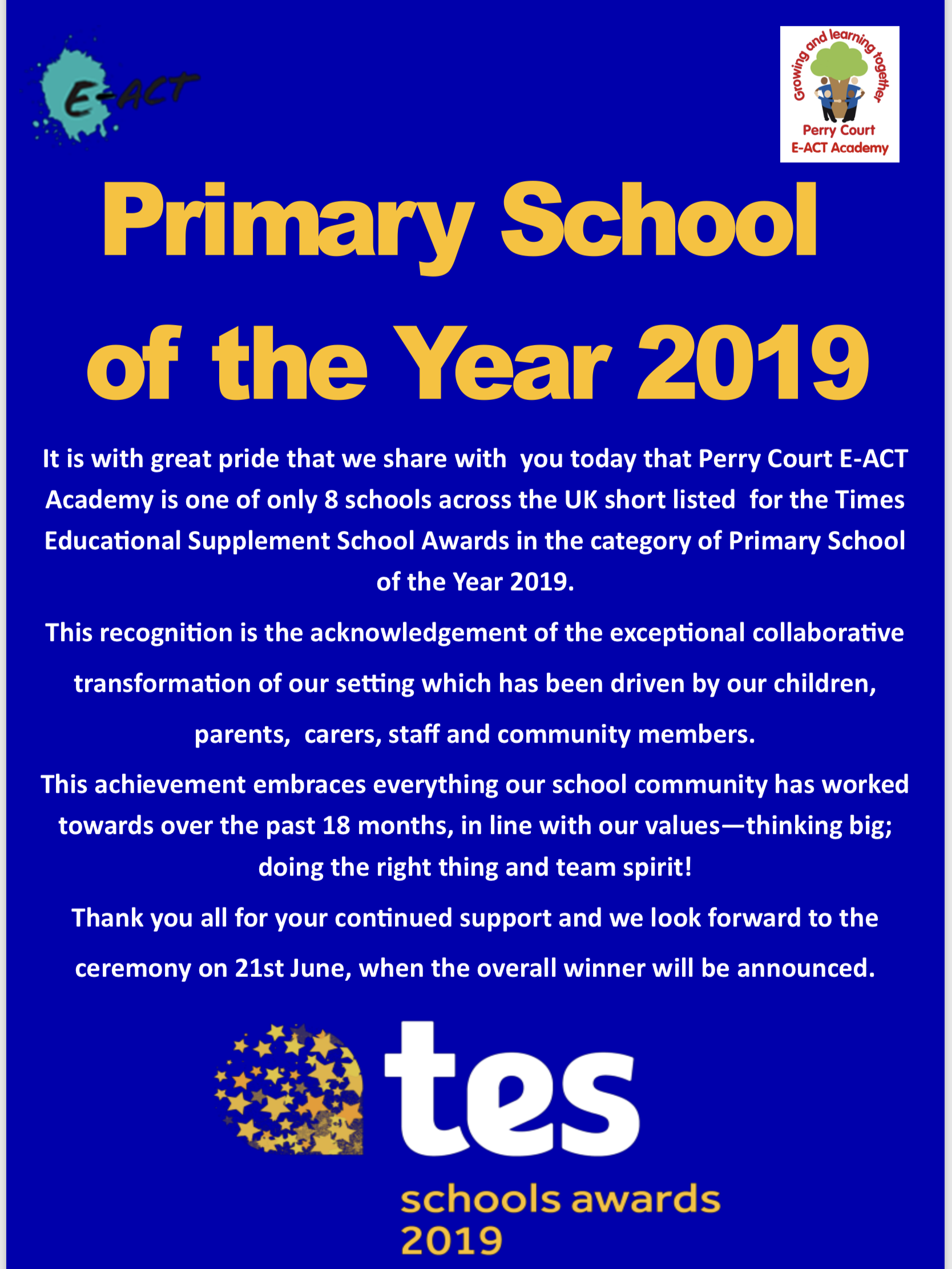 Primary School of the Year 2019 - Perry Court E-Act Academy